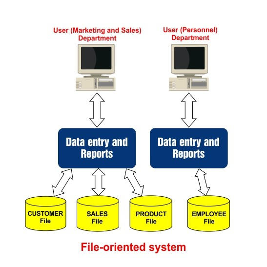 Difference between File Oriented System and DBMS